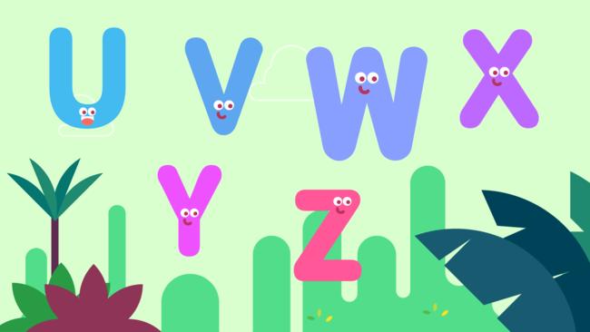 Letters U, V, W, X, Y, Z
